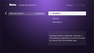 Roku external control disabled