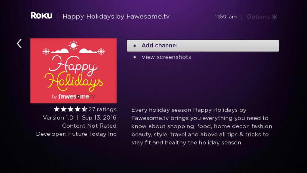 Happy Holidays By Fawesome Tv Roku Guide